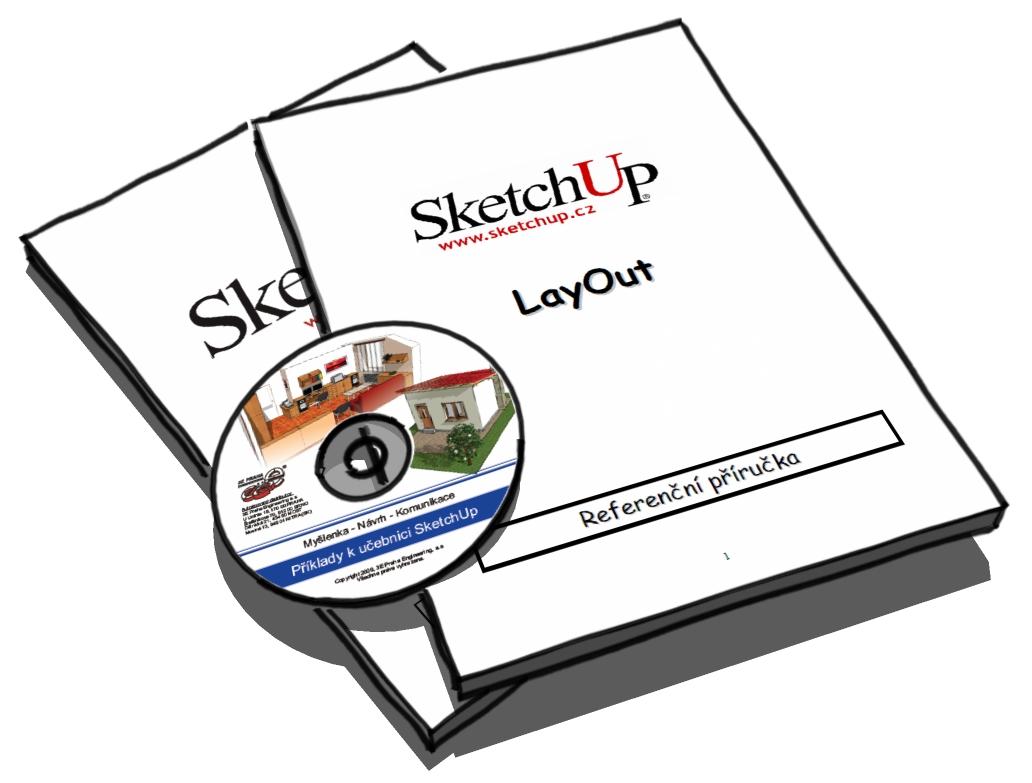 Výuková sada manuálů pro SketchUp (Učebnice SketchUp + CD s příklady a Referenční příručka LayOut